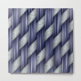 Blended Blue Fibre Weave Metal Print