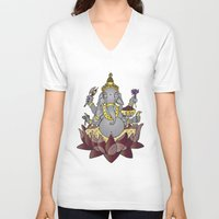 ganesh V-neck T-shirts featuring Ganesh by Street But Elegant