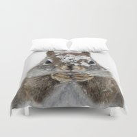 squirrel Duvet Covers featuring Squirrel! by Oberleigh Images