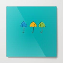 Umbrella Trio Metal Print