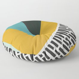 Mustard Citrus Abstract Floor Pillow