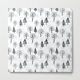 Xmas trees. Winter forest Metal Print
