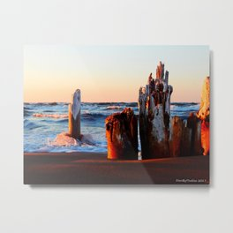 Waves and Sticks at the Beach Metal Print