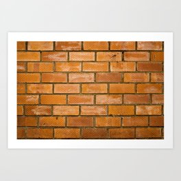 Background of red brick wall pattern texture. Great for graffiti inscriptions. Art Print