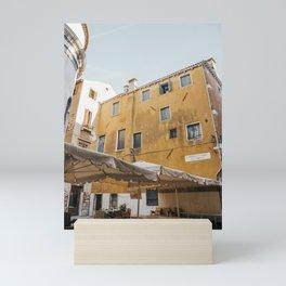 Yellow Rustic Venice Building   Streets of Venice   Italy travel photography prints, Saige Ashton Prints Mini Art Print