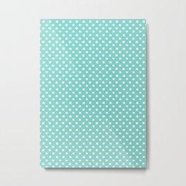 Tiffany blue polka dots pattern Metal Print