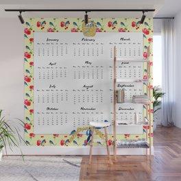 2015 Calendar, Bluebirds and Geraniums Wall Mural