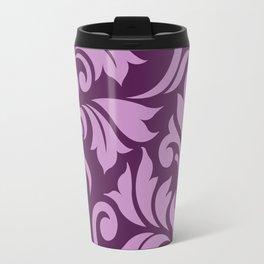 Flourish Damask Art I Pink on Plum Travel Mug