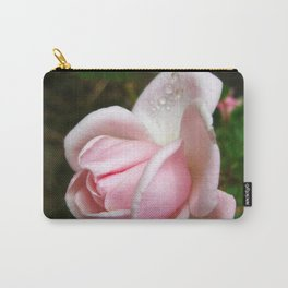 Blooming Light Pink Rose with Water Drops Carry-All Pouch