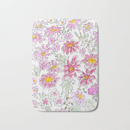 Watercolor . Summer flowers . Bath Mat