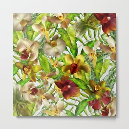 My tropical Orchid Garden- Jungle Pattern Metal Print
