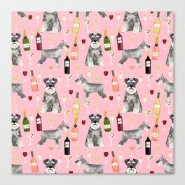 Schnauzer wine champagne cocktails rose dog breed pattern Canvas Print