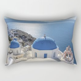 Santorini Island with churches and sea view in Greece Rectangular Pillow
