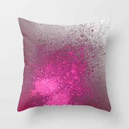 Pink and Grey Spray Paint Splatter Throw Pillow