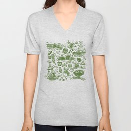 "Zelda ""Hero of Time"" Toile Pattern - Kokiri's Emerald Unisex V-Neck"