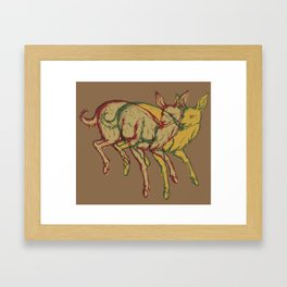 Experimental Yellow Deer Framed Art Print