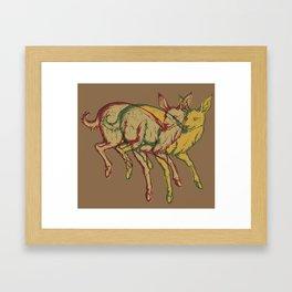 Experimental Yellow Deer Framed Art Print