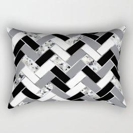 Shuffled Marble Herringbone - Black/White/Gray/Silver Rectangular Pillow