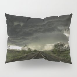 Give Me Shelter - Storm Over Railroad Tracks in Kansas Pillow Sham
