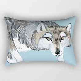 Totem Hokkaido grey wolf (Blue) Rectangular Pillow