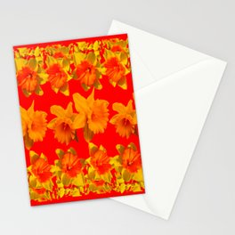 CHINESE RED GOLDEN DAFFODILS GARDEN ART DESIGN Stationery Cards