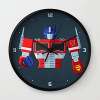 optimus prime Wall Clocks featuring Autobots, Roll out! (Optimus Prime) by DWatson