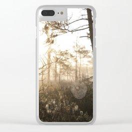 Spiderweb in sunrise Clear iPhone Case