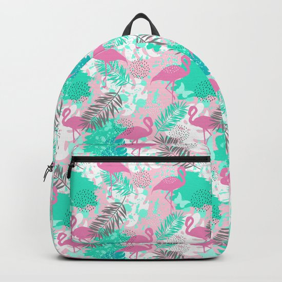 Flamingo. Abstract pattern Backpack
