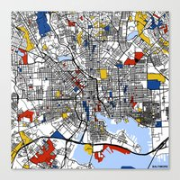 baltimore Canvas Prints featuring Baltimore  by Mondrian Maps