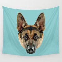german Wall Tapestries featuring German Shepherd // Blue by peachandguava