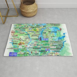 USA Midwest States Travel Map MN WI MI IA KY IL IN OH MO With_Highlights Rug