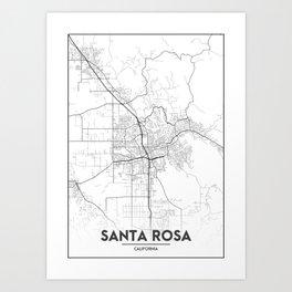 Minimal City Maps - Map Of Santa Rosa, California, United States Art Print