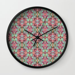 Coral and Mint Abstract Watercolor Wall Clock