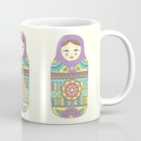 russian Mugs featuring Russian Doll by haleyivers