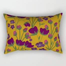 Purple and Gold Floral Seamless Illustration Rectangular Pillow
