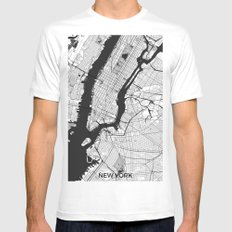 New York Map Gray Mens Fitted Tee White LARGE