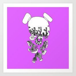 Pieced Away (purple)  Art Print