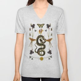 Snake, Swallowtail, & Wildflowers Unisex V-Neck