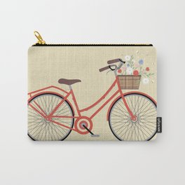 Flower Basket Bicycle Illustration Carry-All Pouch