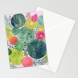 Succulent Circles on Pink Stationery Cards