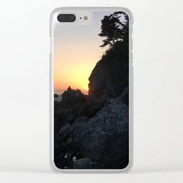 Sunset on a Big Sur Beach with Crashing Waves Clear iPhone Case