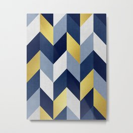 Chevron abstract blue and gold Metal Print