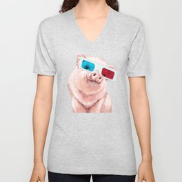 Baby Pink Pig Wear Glasses Pink Unisex V-Neck