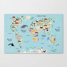 Animal World Map Canvas Print