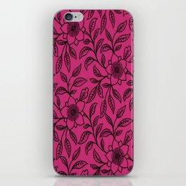 Vintage Lace Floral Pink Yarrow iPhone Skin