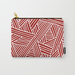 Abstract Navy Red & White Lines and Triangles Pattern Carry-All Pouch