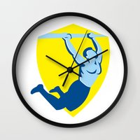 crossfit Wall Clocks featuring Crossfit Pull Up Bar Shield Retro by patrimonio