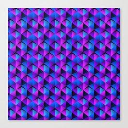 Blue and Purple Triangles Geometric Pattern Canvas Print