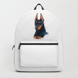 Watercolor Doberman, Doberman Watercolor, Doberman Painting Backpack