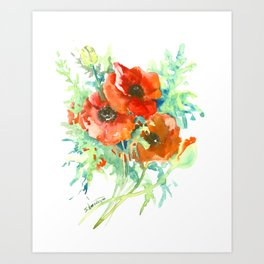 Red Poppies, Red flowers, French Country Style Field Flowers Art Print